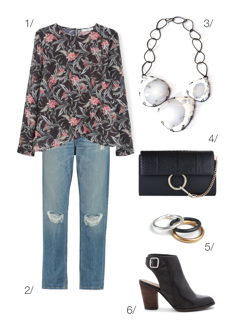 floral print shirt with jeans, booties, and a bold statement necklace // click through for outfit details