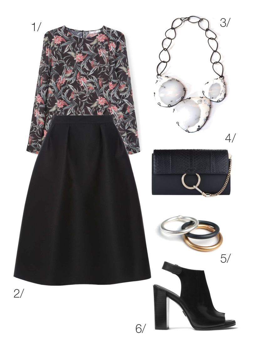 floral print shirt with a midi skirt and bold statement necklace // click through for outfit details