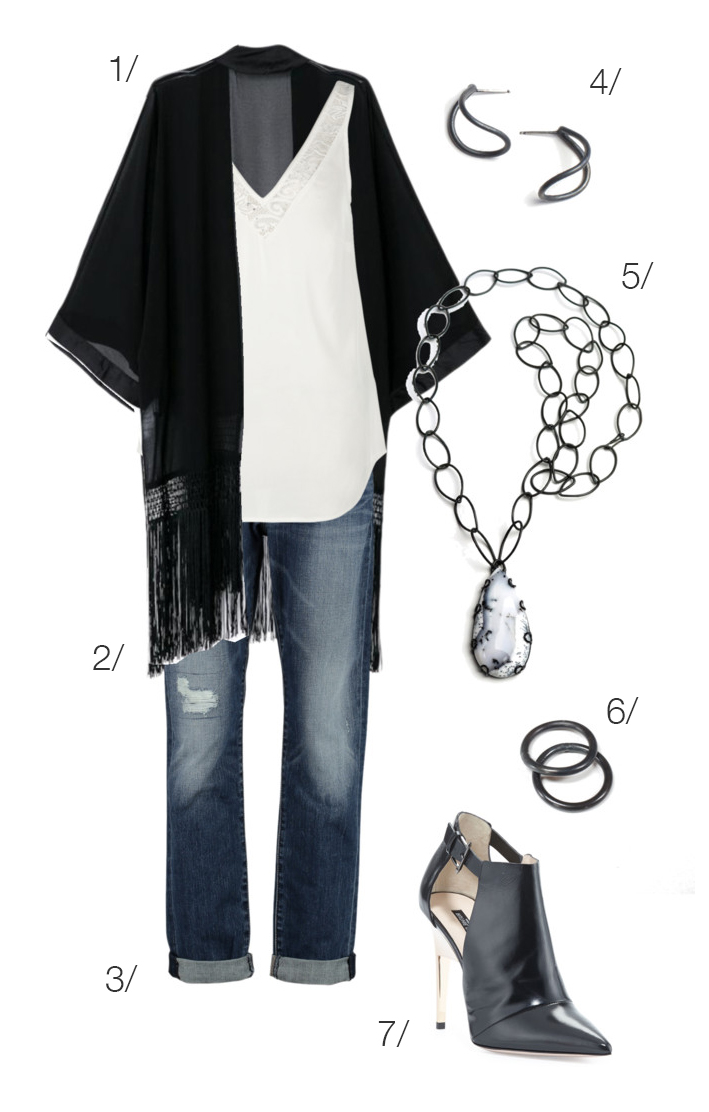 edgy style: fringe kimono, boyfriend jeans, ankle boots, and black jewelry // click through for outfit details
