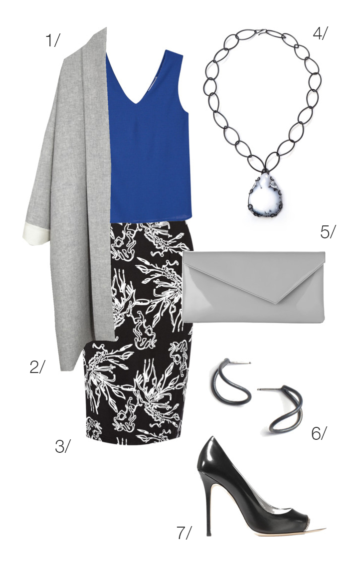 professional office outfit: modern floral print skirt // click through for outfit details