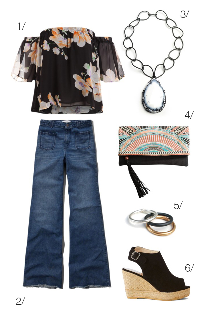 off the shoulder floral print top, wide leg jeans, wedges, and a bold necklace // click through for outfit details