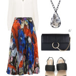 end of sumer to early fall style: patterned pleated midi skirt