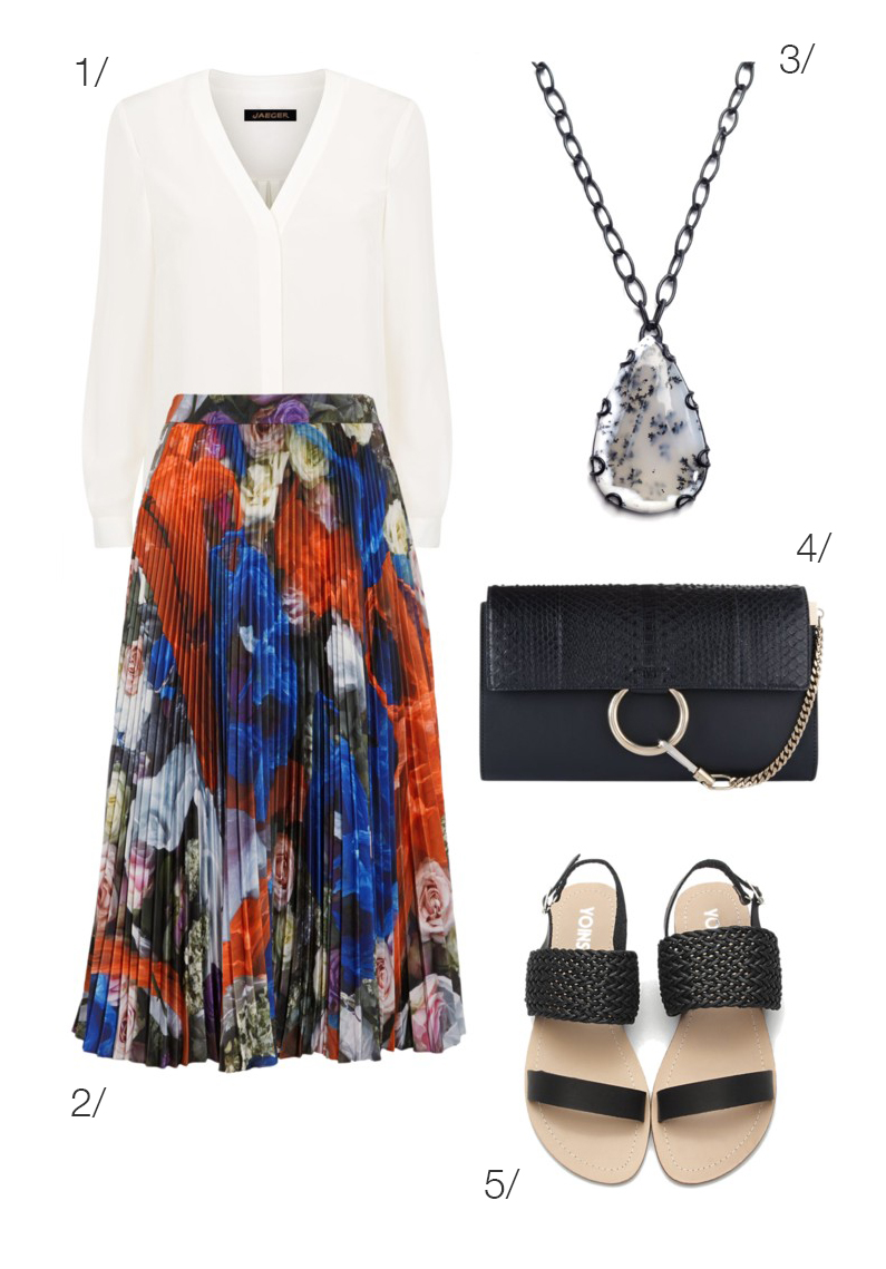 end of sumer to early fall style: patterned pleated midi skirt // click through for outfit details