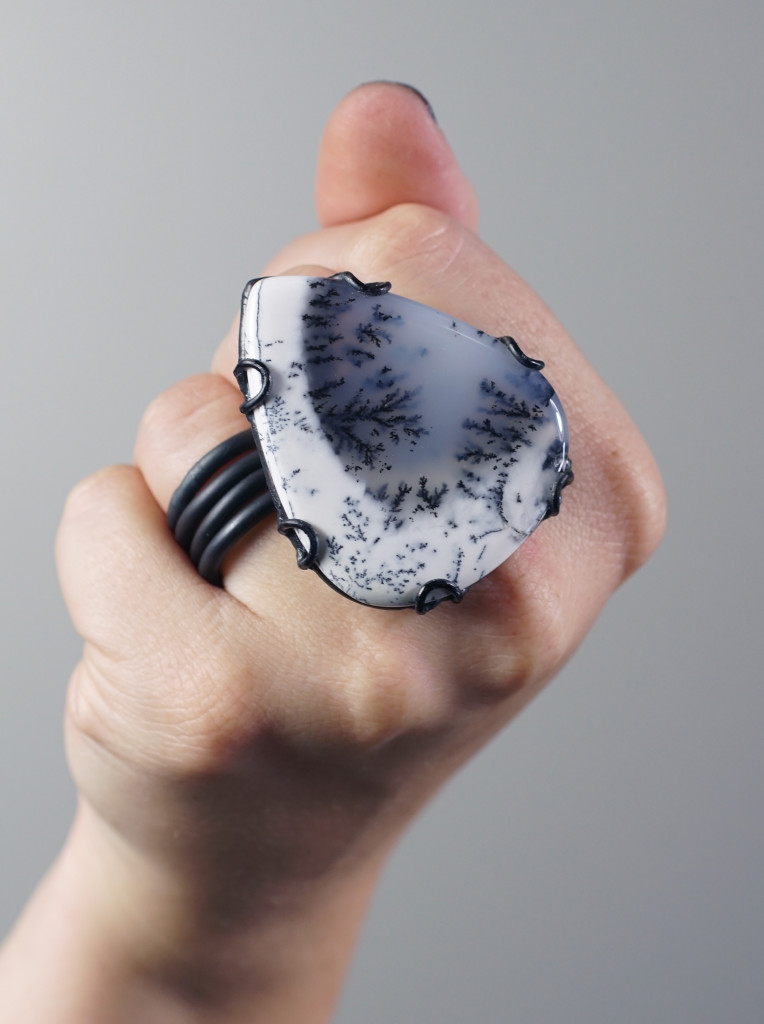 Contra ring // one of a kind dendritic opal statement ring by designer and metalsmith Megan Auman