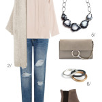 outfit remix: blouse, cardigan, and distressed denim