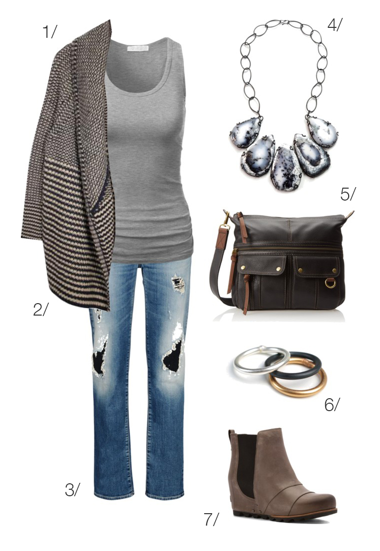 casual fall weekend outfit: chunky cardigan, jeans, ankle boots, statement necklace // click through to shop this look!