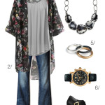 floral kimono and flared jeans