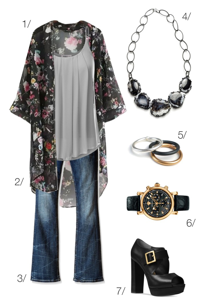 casual modern boho style: floral kimono and flared jeans // click through for outfit details