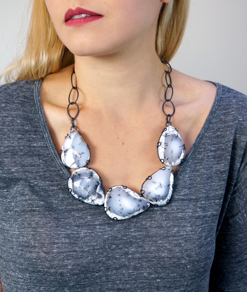 contra composition necklace // bold bib necklace by Megan Auman