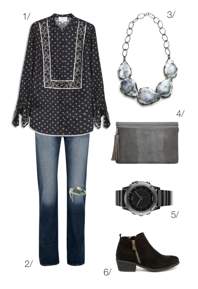 elevated classic and chic everyday style: jeans, patterned blouse, bib statement necklace // click through to shop this outfit