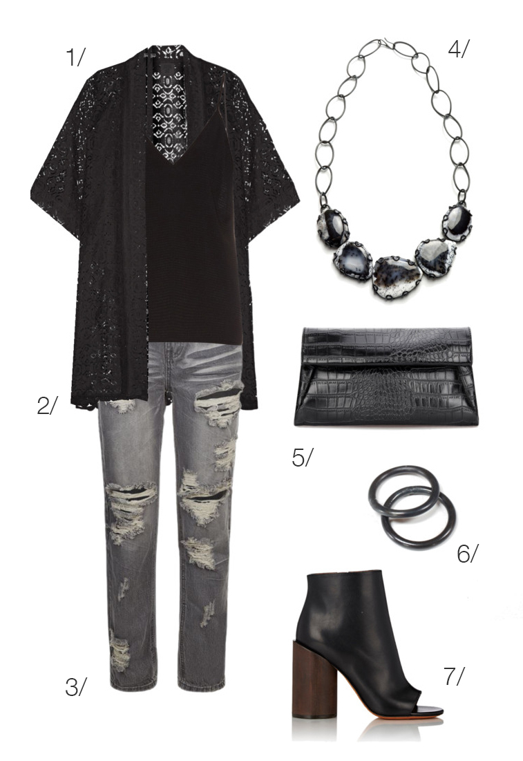edgy urban street style: grey distressed jeans, ankle boots, and black jewelry // click through for outfit details