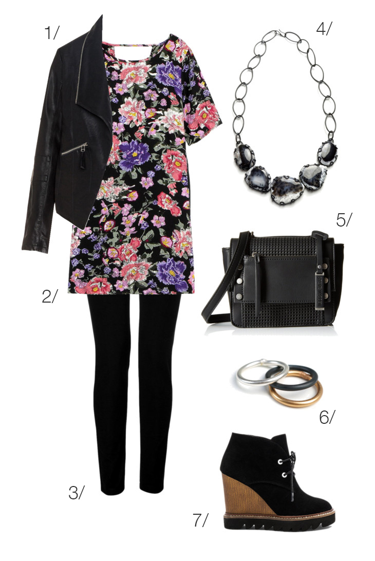 make a summer floral dress appropriate for fall with black leggings, chunky ankle boots, and a leather biker jacket // click through to shop this outfit