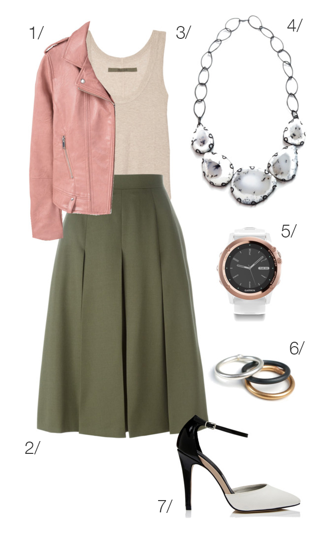 street style inspired: midi skirt, moto jacket, and bib necklace // click through for outfit details