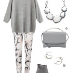 simple everyday style: grey shirt, printed pants, and a statement necklace