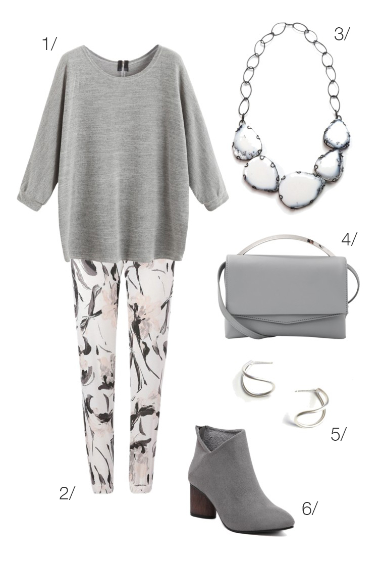 simple everyday style: grey shirt, printed pants, and a bold bib necklace // click through for outfit details