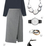 simple and chic professional style: wool midi skirt