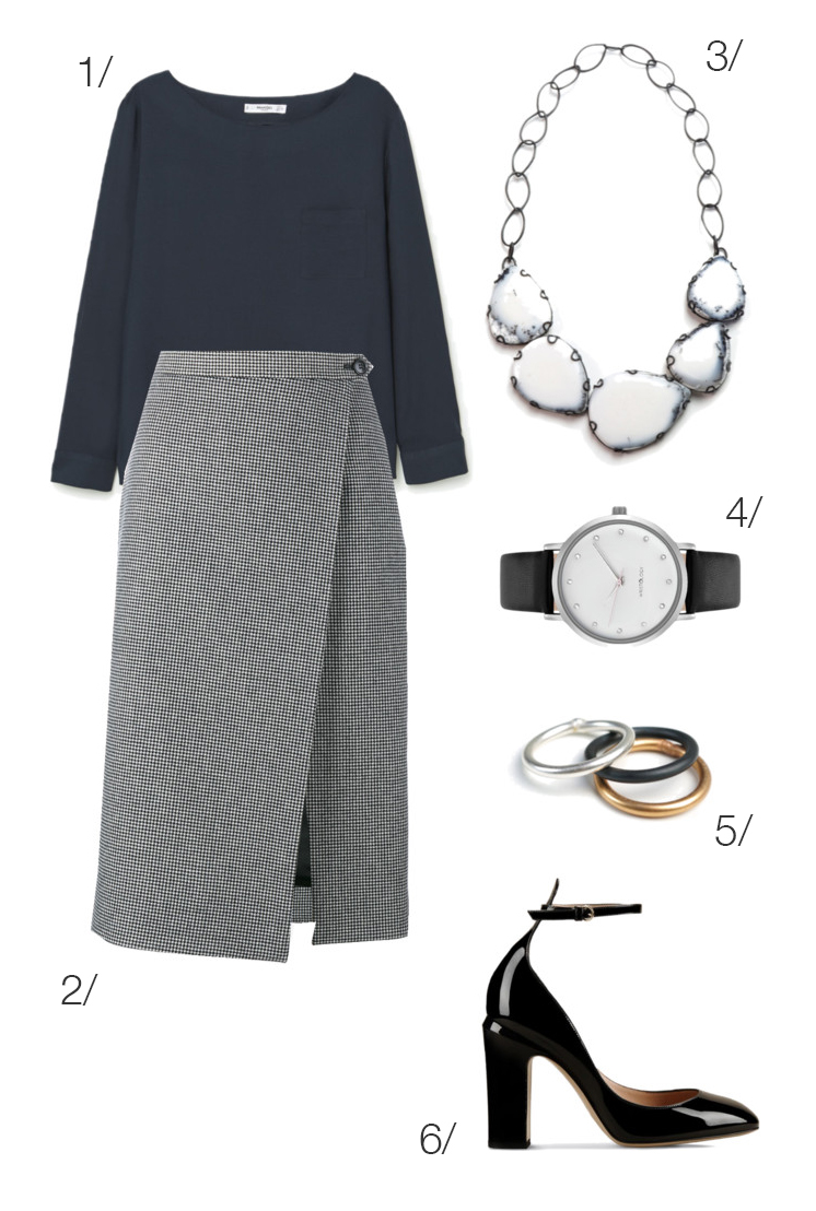 simple and chic professional style: wool midi skirt and bold bib statement necklace // click through for outfit details