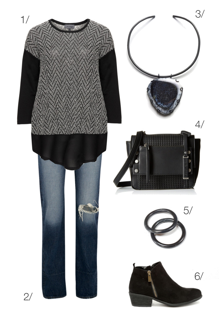 casual and edgy: jeans, ankle boots, bold necklace // click through to shop this outfit