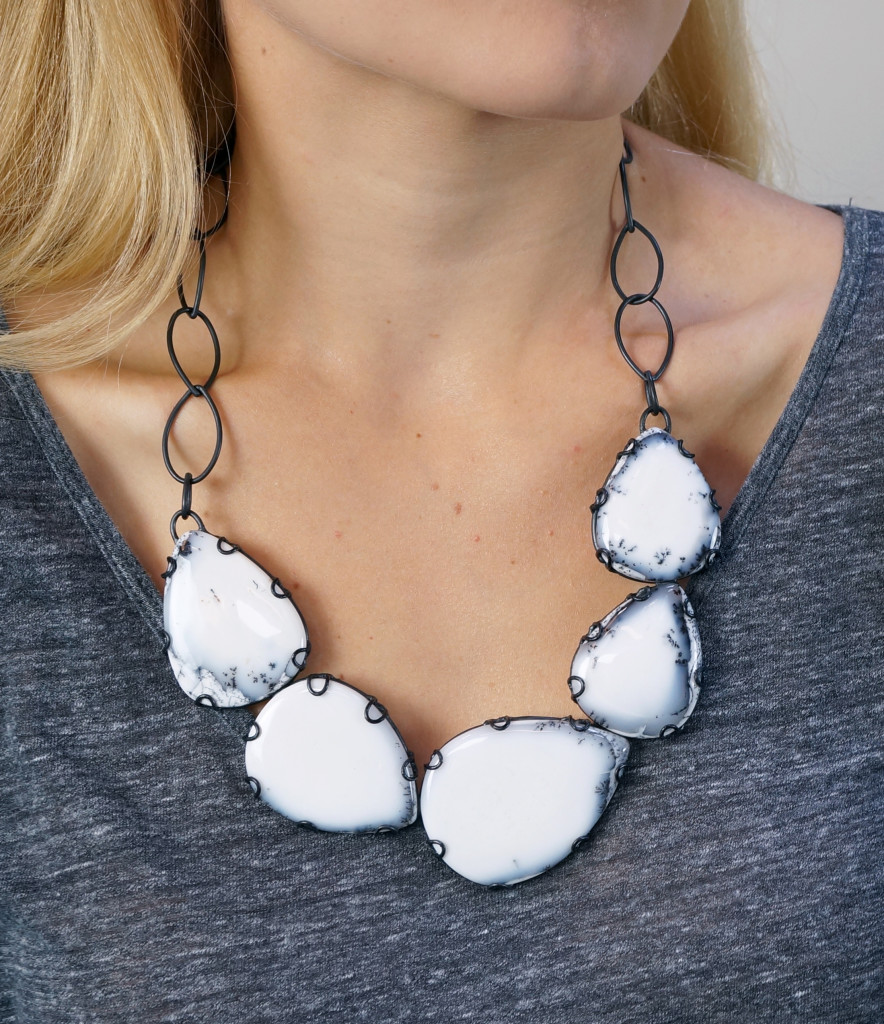 bold black and white bib statement necklace