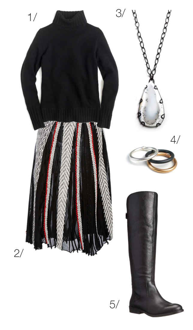cozy holiday style: blanket skirt and boots // click through to shop the look