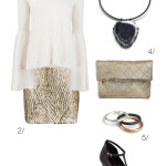 cream and gold holiday party outfit