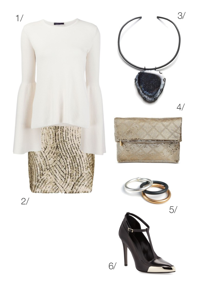holiday party outfit: cream sweater, gold sequin skirt, bold necklace // click through for outfit details