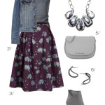 fall style: floral midi skirt and denim jacket