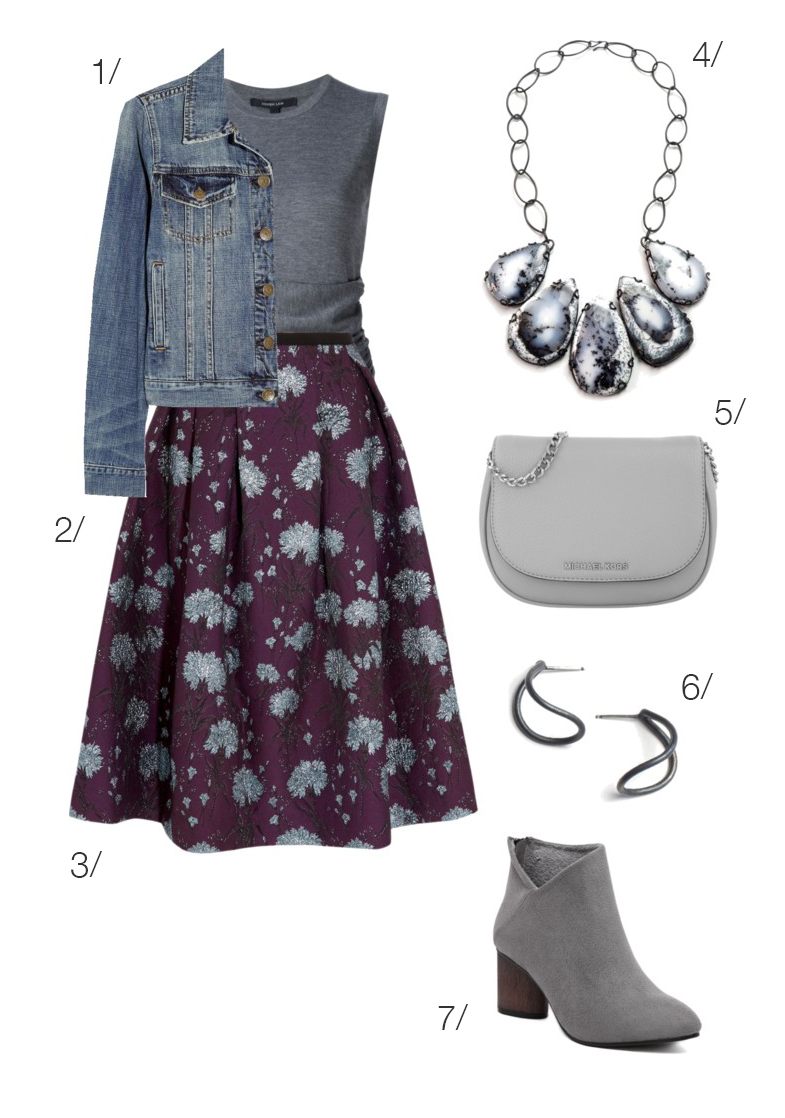 fall style: floral midi skirt, denim jacket, ankle boots, and statement necklace // click through to shop this outfit