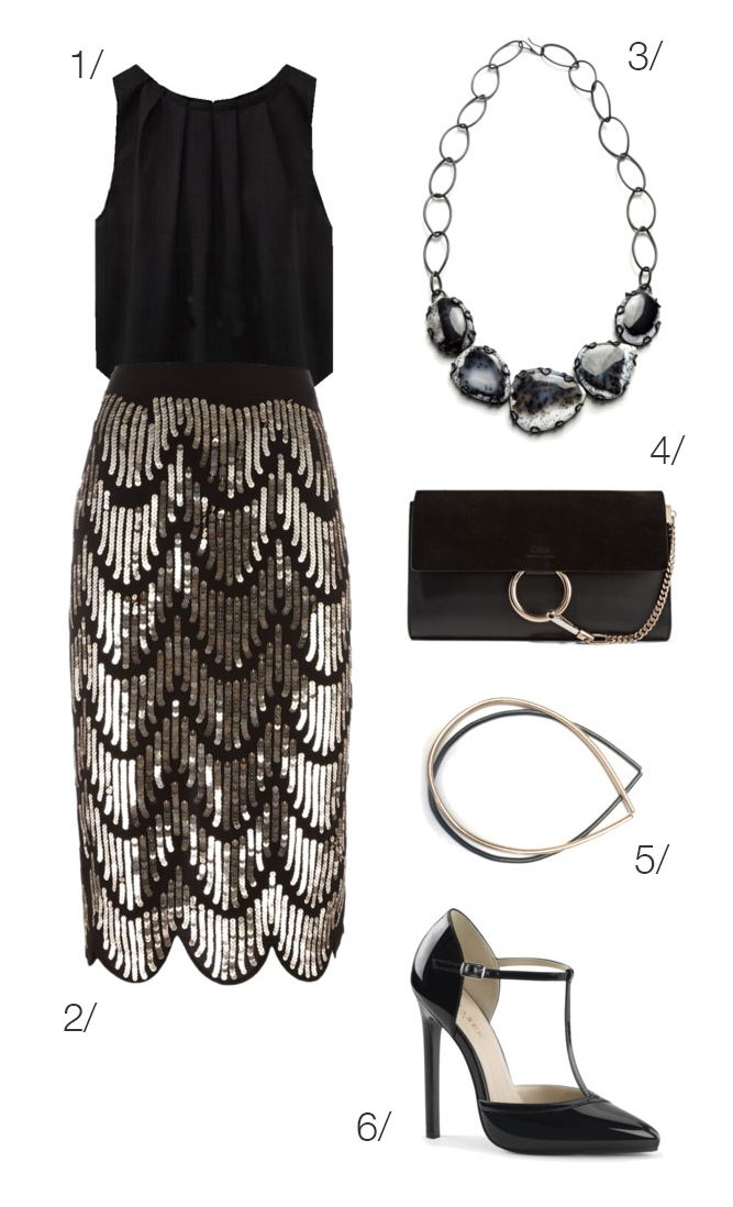 glam holiday party style: sequined skirt and statement necklace // click through to shop this outfit