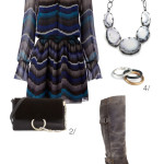 holiday party style: dress, boots, and a statement necklace
