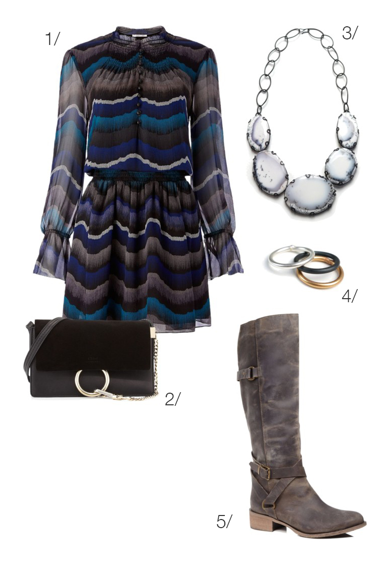 holiday party dress with boots and a statement necklace // click through for outfit details