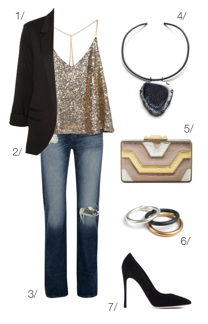 holiday party style: jeans, sequin top, heels // click through for outfit details