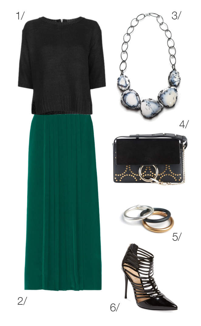 holiday party style: maxi skirt and statement necklace // click through to shop this outfit