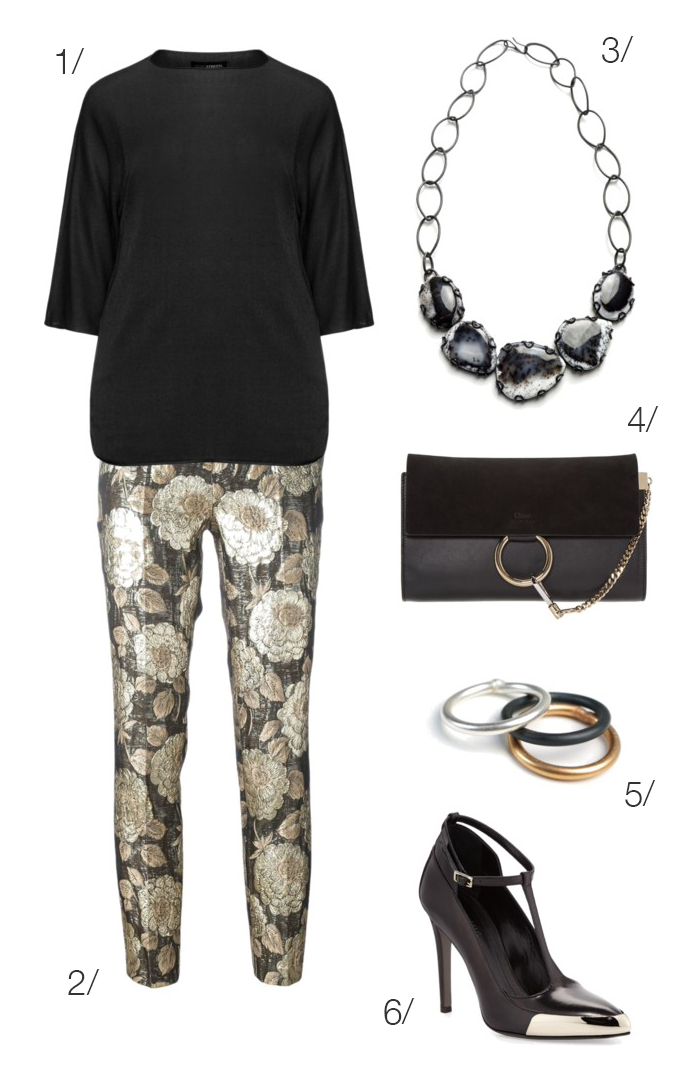 holiday part style: metallic jacquard floral pants and heels // click through to shop this outfit