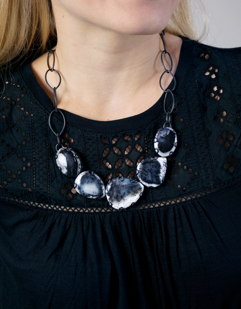 Contra Composition Necklace No. 14 // dark dendritic opal statement necklace