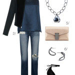 chic and edgy holiday party style: distressed denim and a velvet military jacket