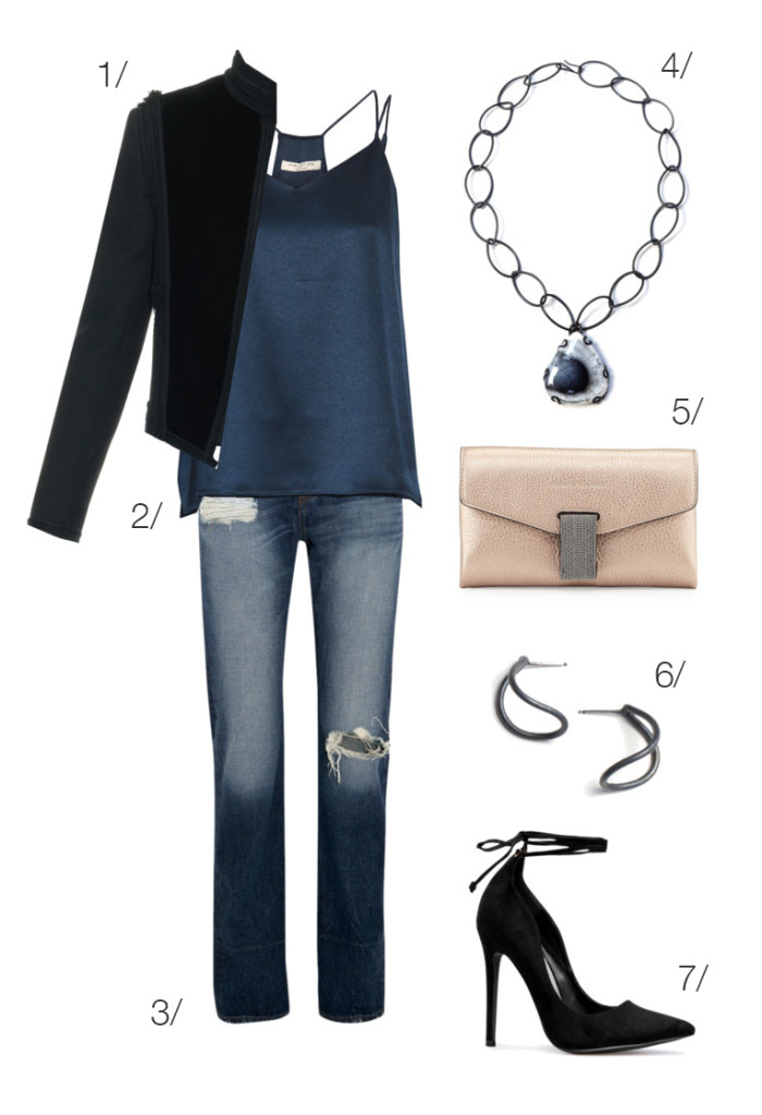 chic and edgy holiday party style: distressed denim, velvet military jacket, and heels // click through for outfit details