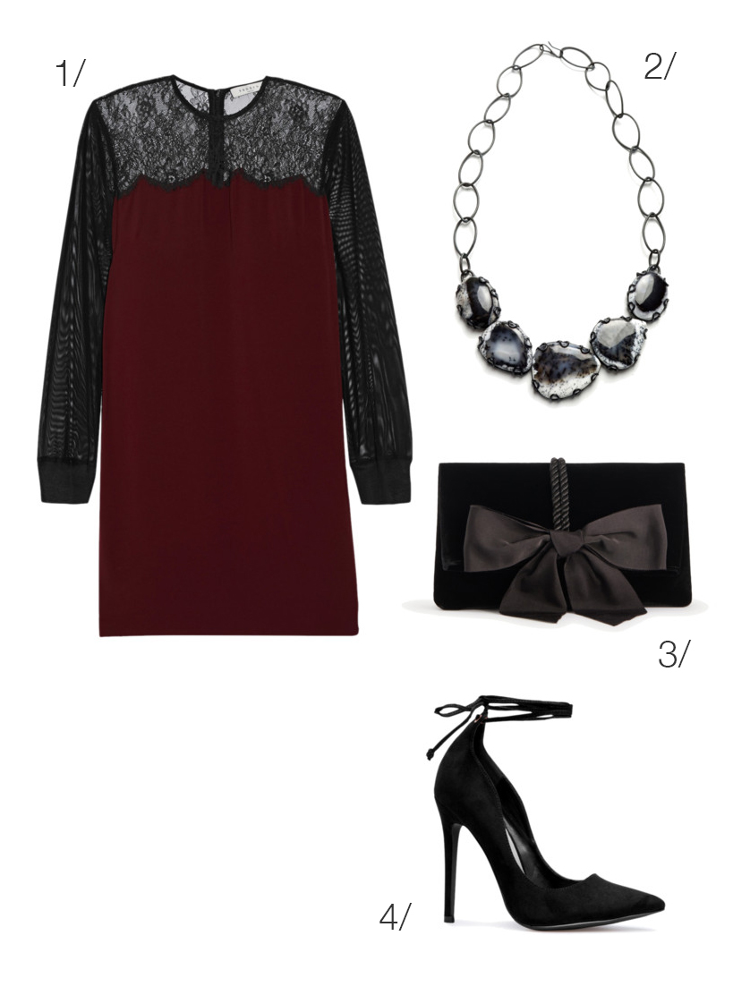 dark and romantic holiday party style: lace dress and velvet accessories // click through for outfit details