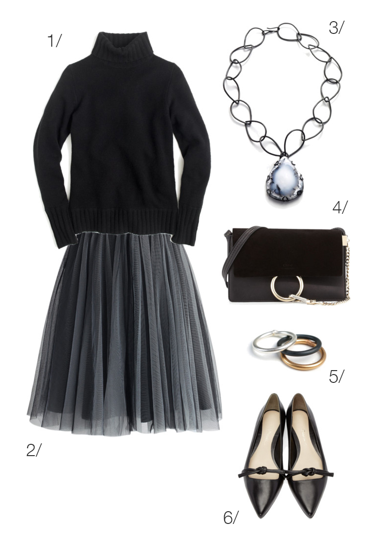 elegant and cozy holiday party style: tulle skirt and turtleneck // click through for outfit details