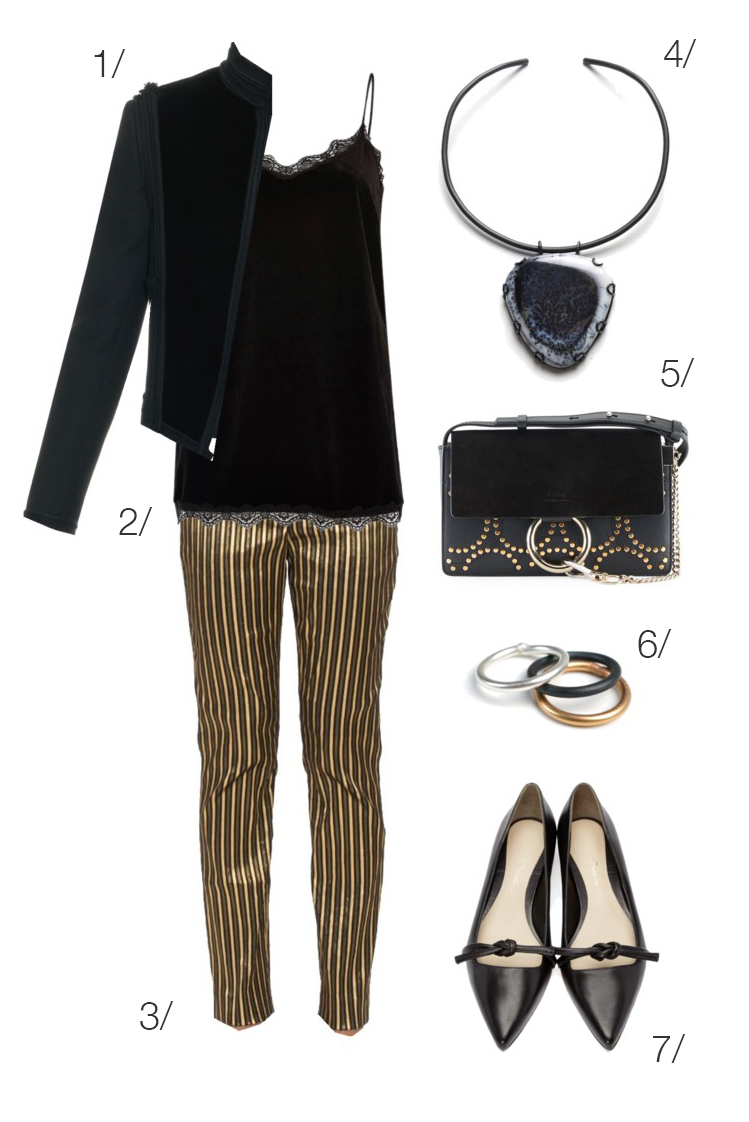 holiday party style: gold pants and velvet jacket // click through for outfit details