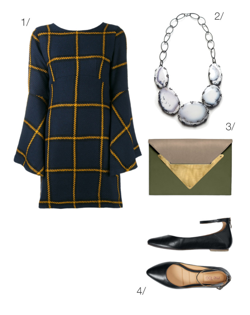 plaid party style: dress and statement necklace // click through for outfit details