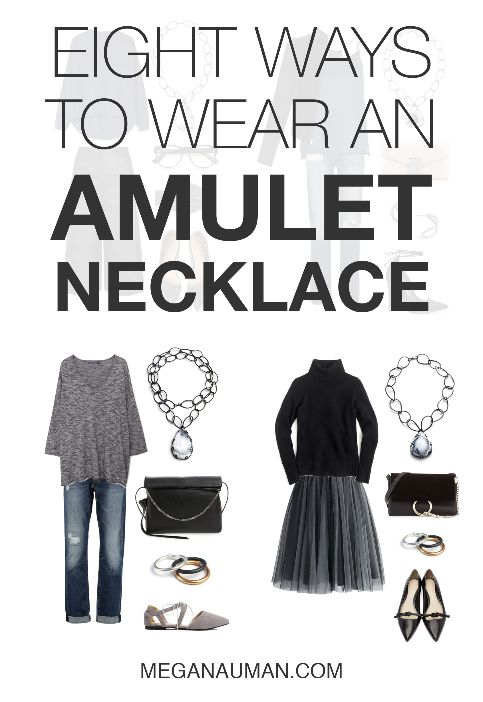 8 ways to wear an amulet-style necklace // click through for outfit ideas