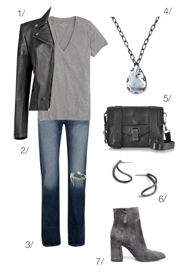 casual edgy style: jeans and moto jacket