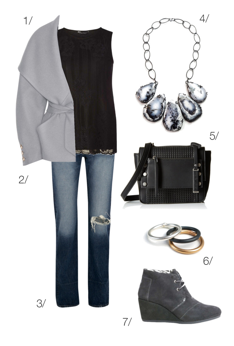 chic and cozy everyday winter style: jeans, ankle boots, statement necklace // click through for outfit details