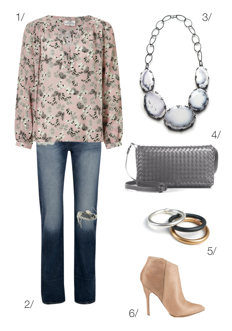 simple and chic spring style: floral blouse, statement necklace, and boyfriend jeans // click through for outfit details