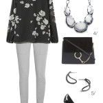 simple and chic professional style: floral blouse and statement necklace