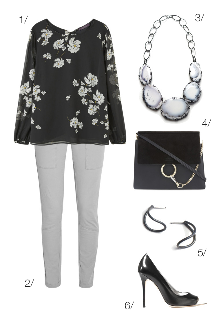 simple and chic office outfit idea: floral blouse and statement necklace // click through for outfit details