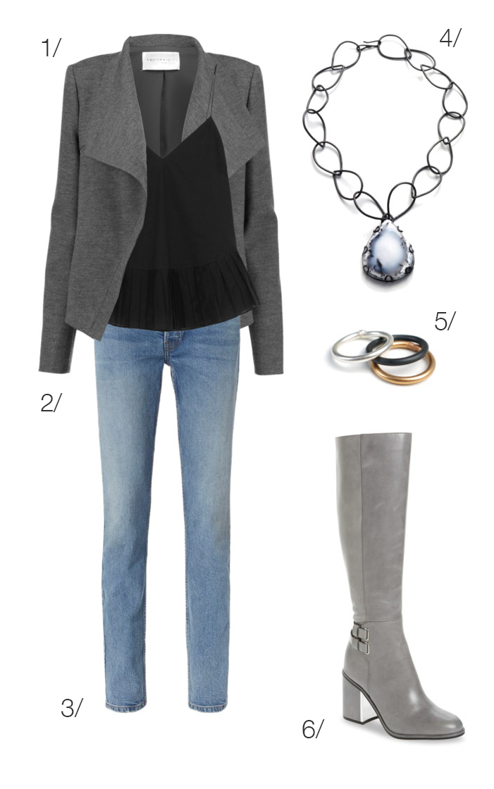 chic casual winter style: jeans, boots, necklace // click for outfit details