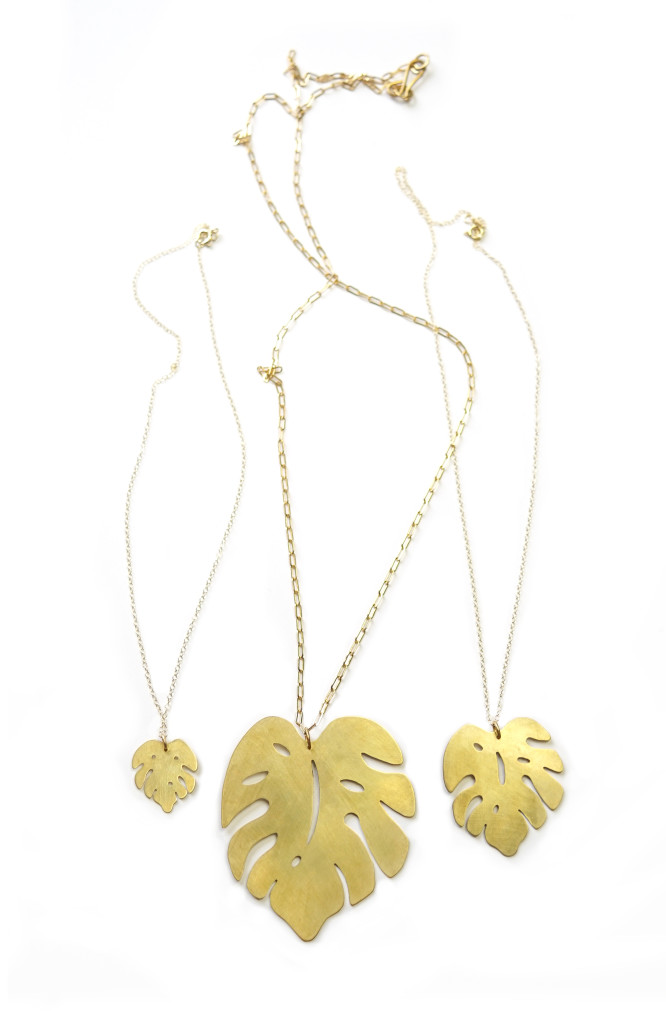 Monstera leaf pendant necklaces