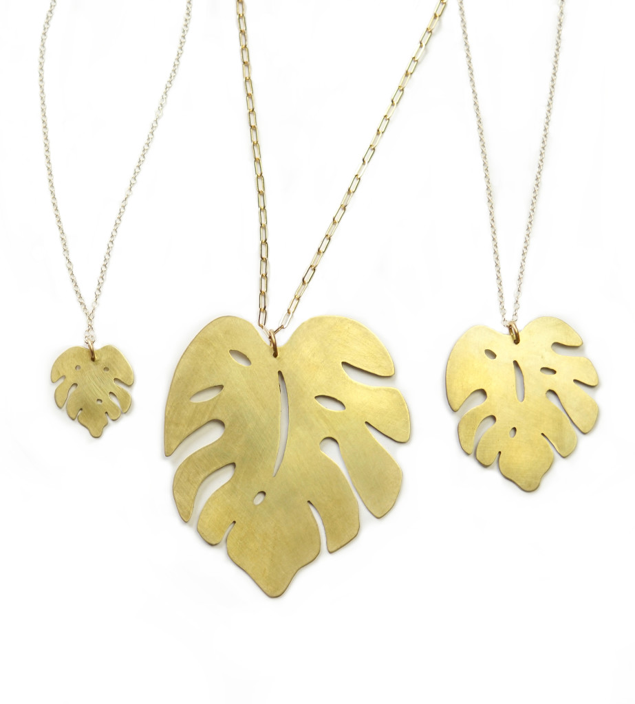 Monstera leaf pendants in three sizes (from petite everyday necklaces to major statement pieces)